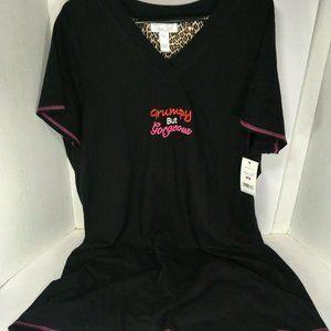 Rene  Rofe 'GRUMPY BUT GORGEOUS' Black Sleep Shirt